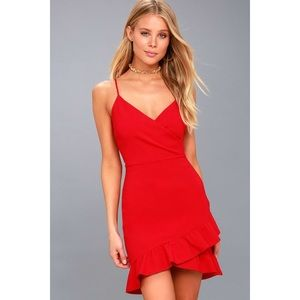 🆕 Sealed With A Kiss Red Bodycon Ruffle Dress